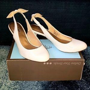 Life Stride Shoes - White Slingback Kitten Heels